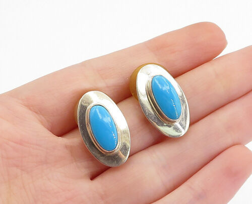 Primary image for 925 Sterling Silver  - Vintage Turquoise Inlay Shiny Oval Drop Earrings - E9261