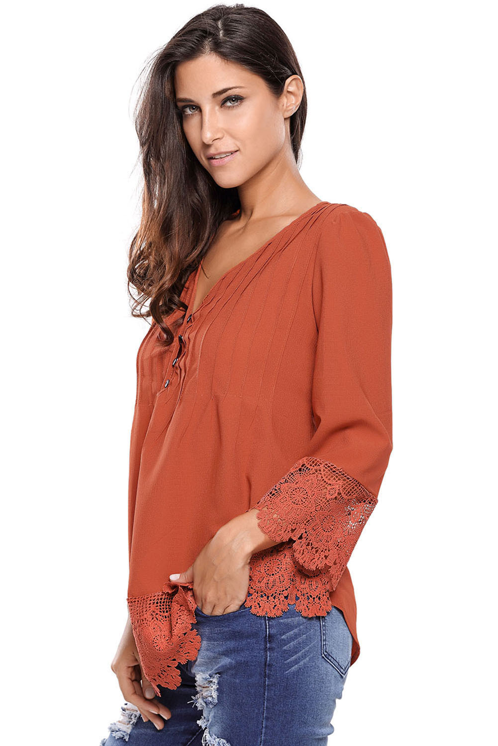 Brown Lace Detail Button Up Sleeved Blouse