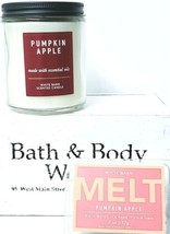 Bath & Body Works Pumpkin Apple Medium Jar Candle 7 oz. & Fragrance Melt... - $21.29