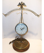 Vintage United Scales of Justice CLOCK Model 207 Gold Tone American Eagl... - $48.95