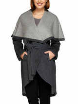 H BY HALSTON Double Face Shawl Collar Wool Blend Coat MIDNIGHT Size 4 - $98.99