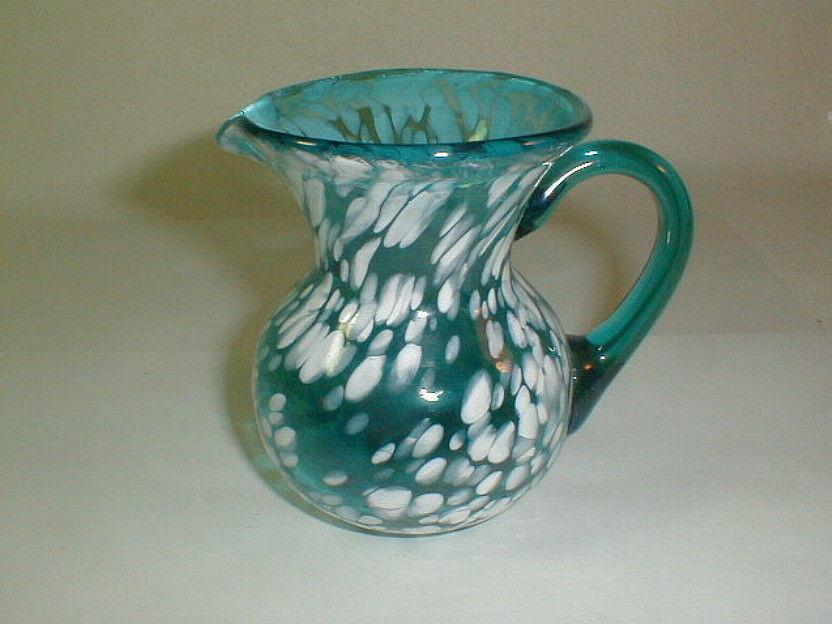 Art Glass Blown Vase Ewer Pitcher Mottled And 50 Similar Items