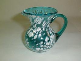Art glass blown vase ewer pitcher mottled midcentury teal green white - $40.00