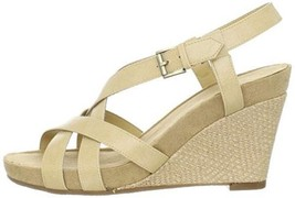 Aerosoles Womens 9.5 At First Plush Strappy Sandals Cream Bone Slingback... - $44.54