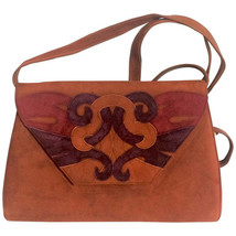 Vintage Bally brown, red, and purple suede leather ethnic design shoulde... - $262.00