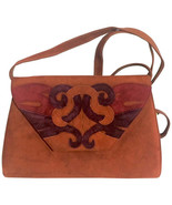 Vintage Bally brown, red, and purple suede leather ethnic design shoulder bag, c - $262.00