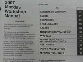 2007 Mazda 5 Mazda5 Service Repair Shop Manual Set w Transaxle Book OEM - $98.87