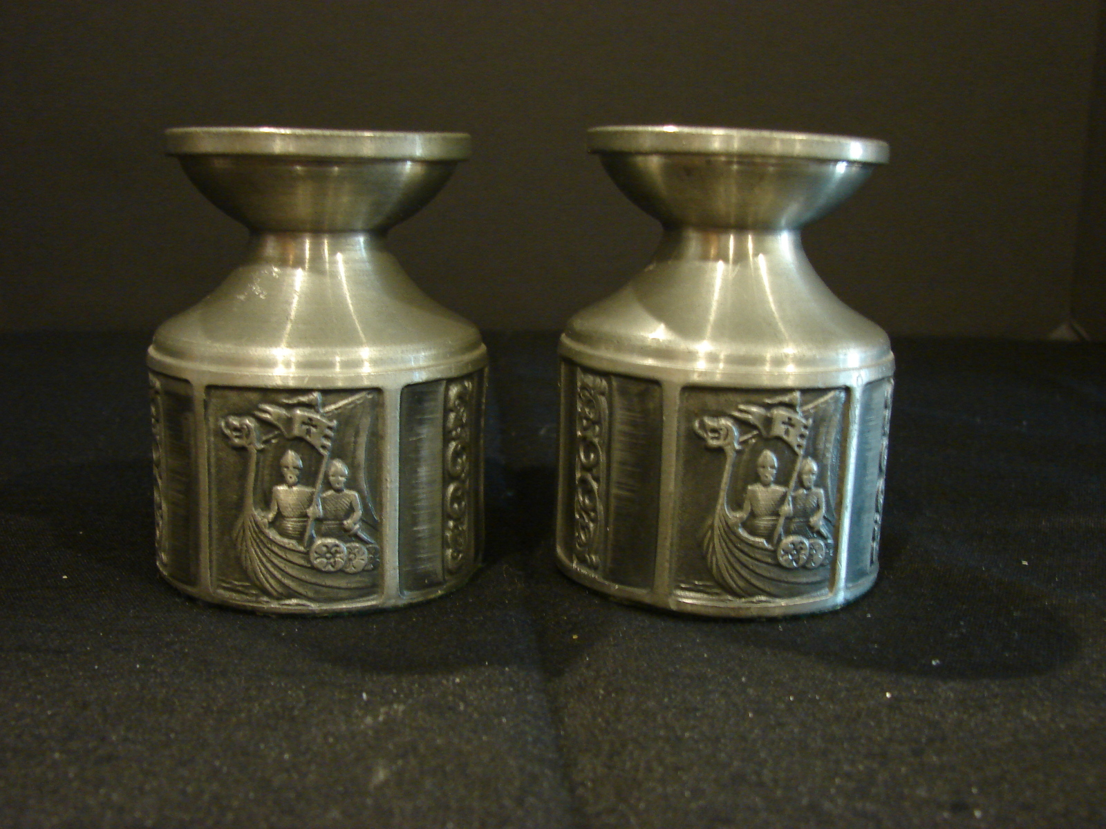 Norway Oslo Pair of Miniature Norwegian Steen and Strom Candlestick Holders Brass Dollhouse Candlesticks