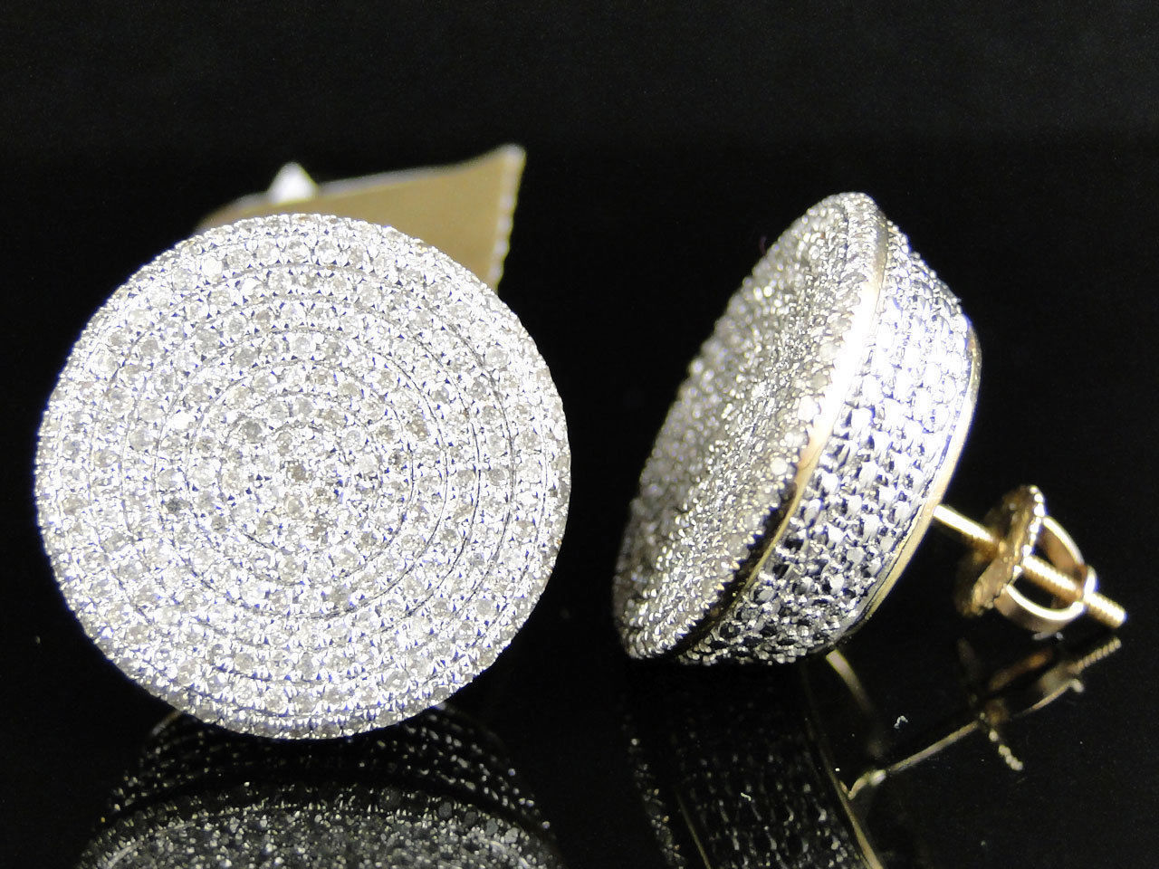 Mens Womens 14K Yellow Gold Over Diamond Pave Circle Round Stud Earrings 1.60CT