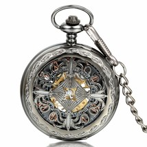 Deffrun Vintage Black Automatic Mechanical Watch Roman Numeral Pocket Watch - $22.49