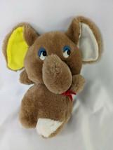 "Brown Elephant Plush 8"" Yellow Ear Blue Eyes Stuffed Animal Toy - $14.95"