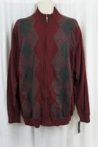 Tasso Elba Mens Sweater Sz XXL Port Red Combo Front Zip Cotton Casual Sw... - ₨2,611.74 INR