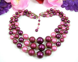CRANBERRY Burgundy MAROON Triple Strand NECKLACE Vintage Graduated Dark ... - $16.99