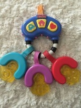 Fisher Price Blue Red Purple Yellow Baby Teether Car Keys Musical Buttons - $5.00