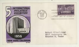 1956 Scott #1076 FIPEX First Day Cover! Fifth Intl Philatelic Ex Ken Bol... - $4.94