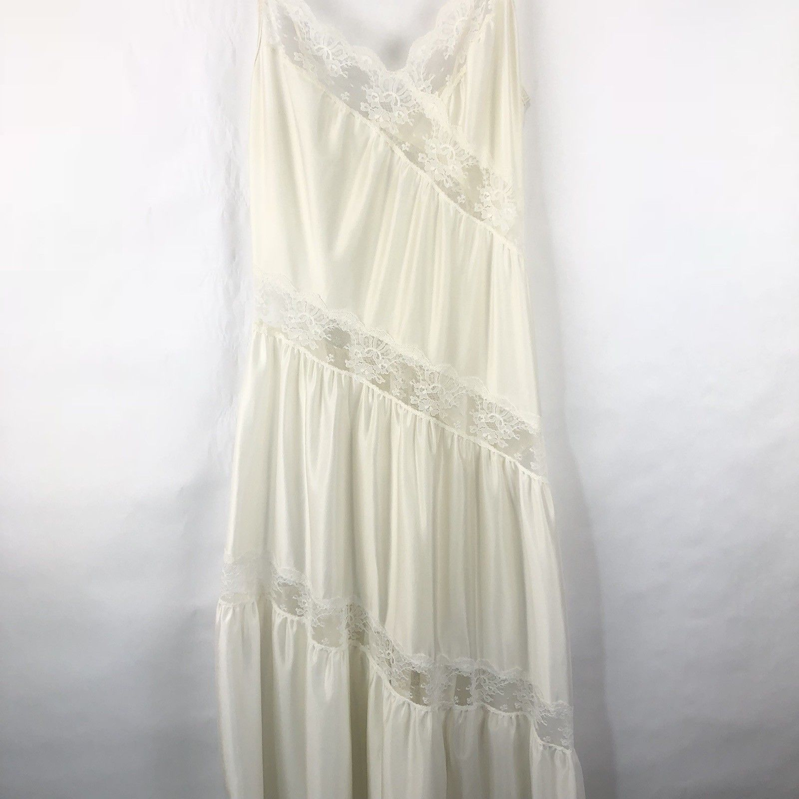 fe3e95fe4d ... Vtg Womens Nightgown Long Ivory Lace S Negligee Sheer Nylon  Asymmetrical ...