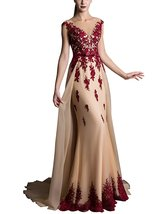 Women's V Neck Prom Dress 2018 Lace Evening Party Gowns Sweep Train Formal Dress - $108.99