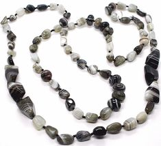 Long Necklace 120 cm, 1.2 Metres, White Agate Black Grey Banded image 3
