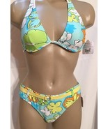 Body Glove Blue Floral Halter 2 Piece Bikini Bathingsuit M NWT - $42.95