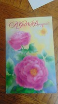 Vintage Get WELL UN Used  With Envelope-Bouquet pink Flowers - $5.40