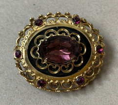 Vintage Coro Pegasus Purple Rhinestone Dome Oval Brooch Pin Gold Tone Op... - $23.72