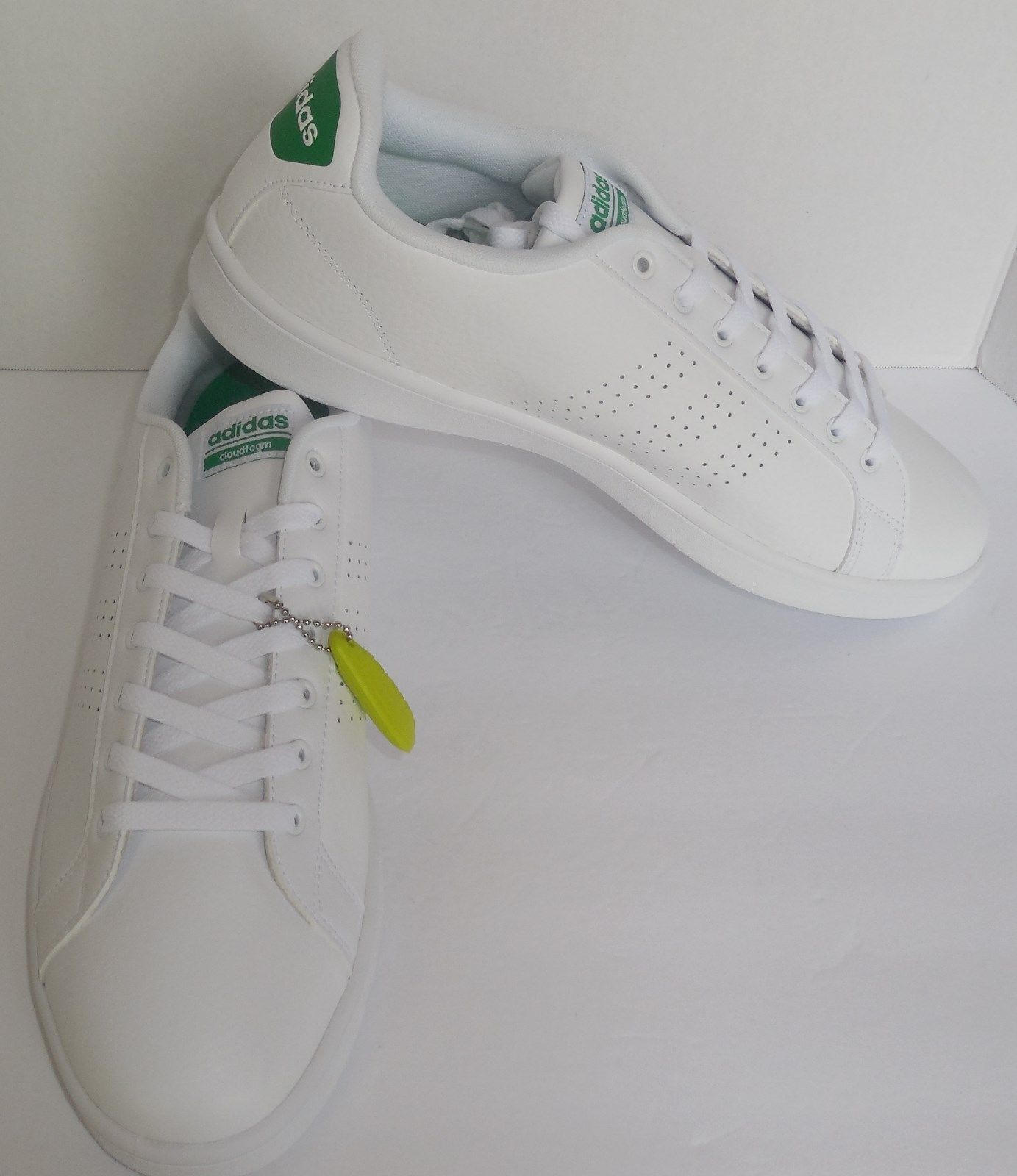 release date 59901 6d944 57. 57. Previous. Adidas Neo Mens 13 Cloudfoam Advantage Clean White Green Sneakers  Shoes AW3914