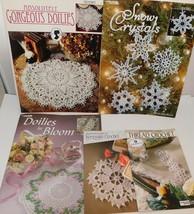 Lot of 5 CROCHET Books- Doilies Thread Crochet Snow Crystals Pat Kristof... - $28.91