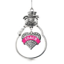 Inspired Silver Fuchsia and White Coach Pave Heart Snowman Holiday Ornament - $14.69
