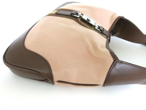 Authentic GUCCI Canvas Leather Beige Dark Brown Jackie Shoulder Bag Purse