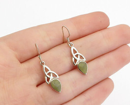 925 Sterling Silver - Vintage Connemara Marble Celtic Knot Drop Earrings... - $24.03