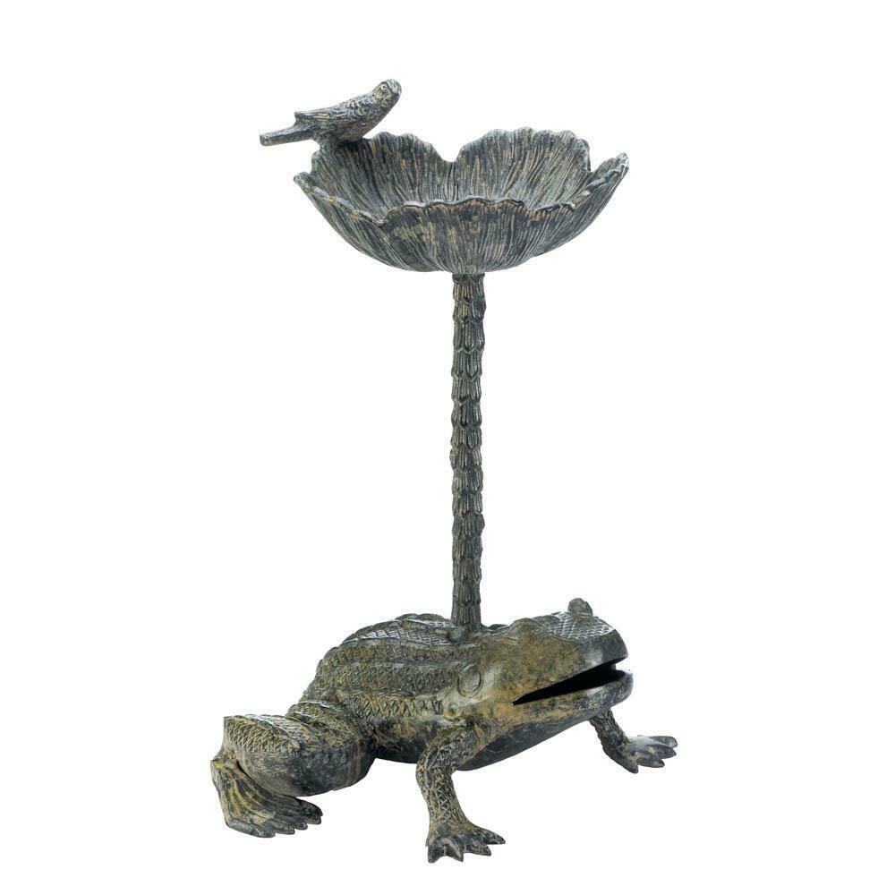 "20"" Tall Frog and Flower Lily Aluminum Birdbath Outdoor Decor"