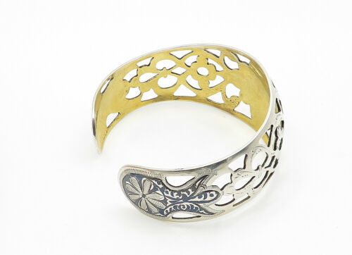 RUSSIA 925 Silver - Vintage Black Enamel Floral Cutout Cuff Bracelet - B6279 image 3