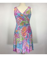 Ralph Lauren Women Dress Wrap Sleeveless Paisley Print Bright Petite Siz... - $46.63