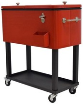 Steel 20 Gallon Party Cooler Cart with Locking Wheels and 1 inch Insulat... - $246.95