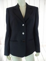 Anne Klein Blazer 8 Black Poly Viscose Stretch Button Front Lined Classy Chic! - $54.65