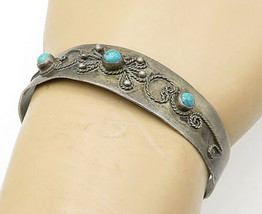 925 Silver - Vintage Antique Turquoise Wire Twist Detail Cuff Bracelet -... - $36.74