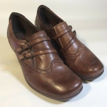 Earth Origins Size 8.5 M Brown Leather Upper Wedge Buckle Detail Slip On Shoes - $19.57