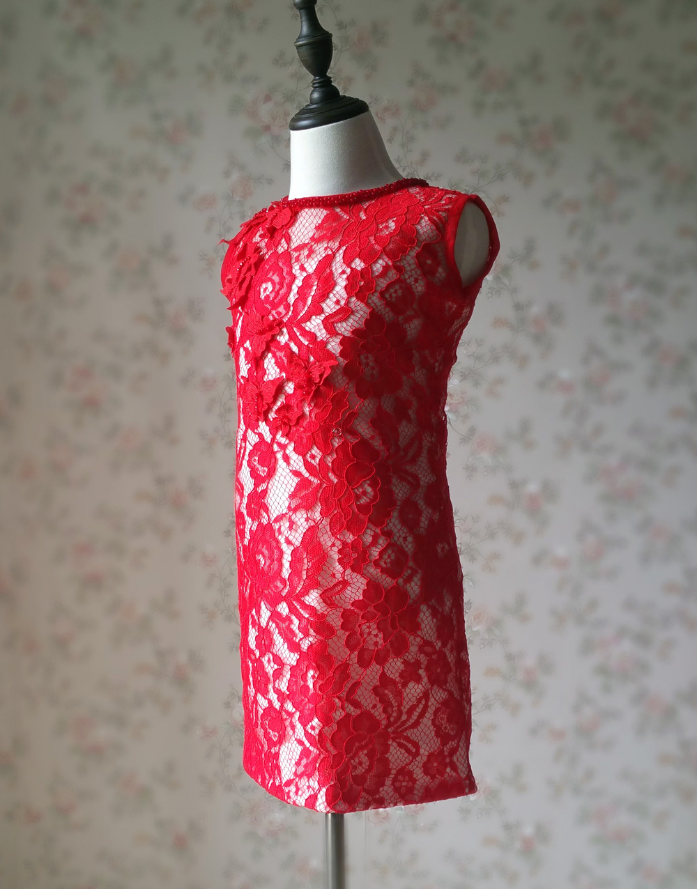 RED Lace Flower Girl Dress Short Straight Red Girl's Birthday Party Dresses NWT