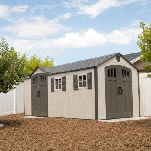Lifetime 17.5x8 Plastic Storage Shed Kit w/ Double Doors [60213]