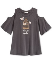 Monteau Butterfly Glitter Graphic Cold-Shoulder T-Shirt, Big Girls (Blac... - $13.90