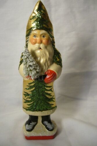 Vaillancourt Folk Art, Gold Coat Santa with Tree, signed by Judi!