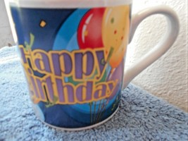 "Happy Birthday Large Cup Mug 4.25"" Tall 4"" Diam Balloons - $7.16"