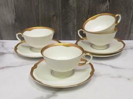 Set 4 Franconia Krautheim Jewel Cups and Saucers SELB BAVARIA Germany Go... - $43.56