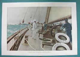 "EMPEROR WILHELM II on Board Royal Yacht - VICTORIAN Era Print 14.5"" x 21... - $15.26"