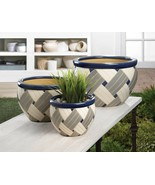 Set of 3 Geometric Design Ceramic Flower Pots, Planters Drain Hole in Bo... - $45.49