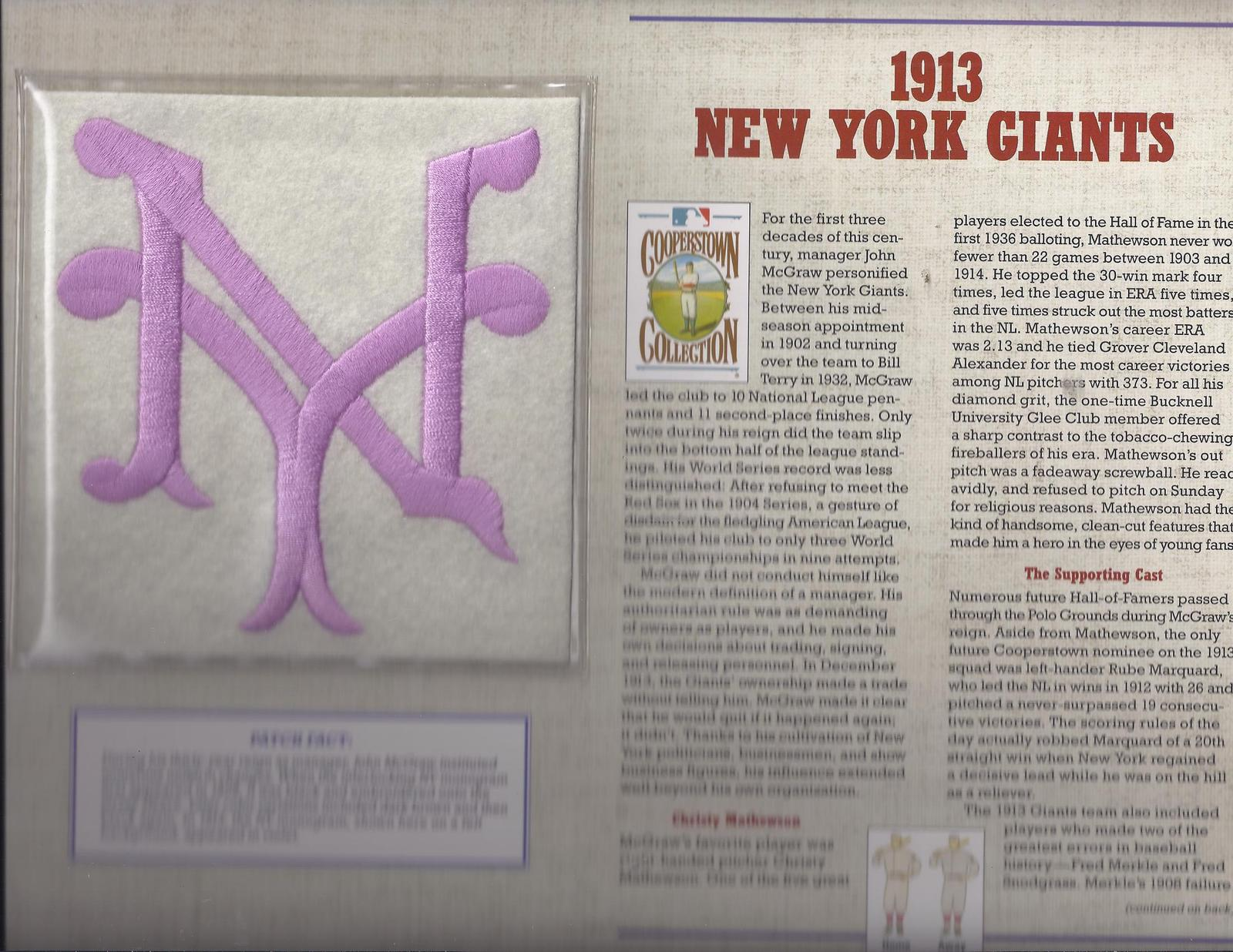 1913 New York Giants Cooperstone Collection Baseball Patch & Stat Sheet