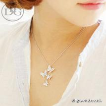 Jisensp Elegant Silver Butterfly Themed Ladies Necklace - Cubic Ziconia ... - $9.99