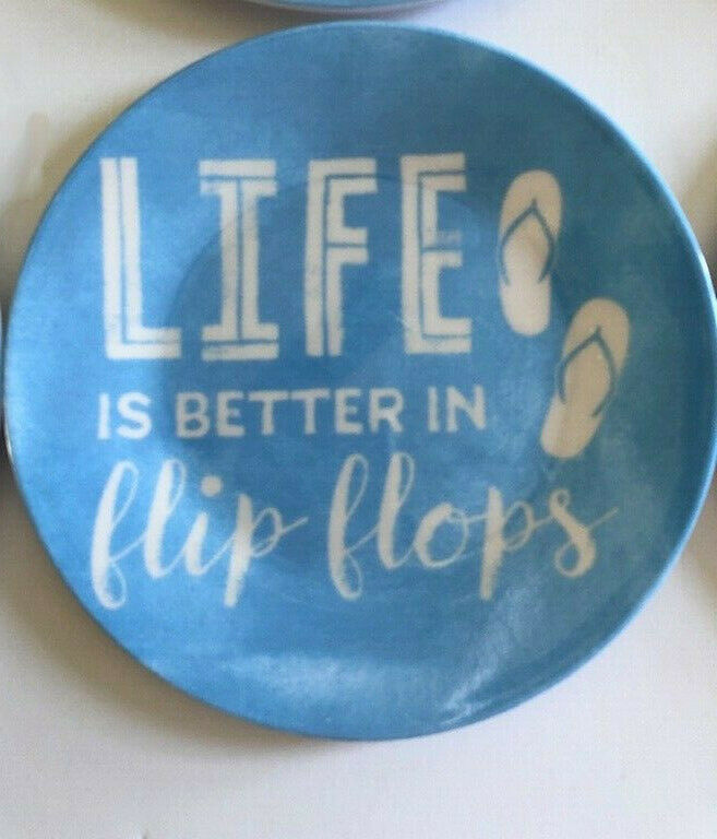 "Melamine Tidbit Appetizer Side Plates 6"" Set of 6 Life Is Better In Flip Flops"