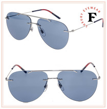 GUCCI 0397 Silver Blue Rimless Aviator Stripe Unisex Metal Sunglasses GG... - $259.38
