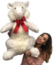 Big Plush Giant Stuffed Hamster 33 inch Soft Plush Gray Color Kia Fan Gift - $97.11